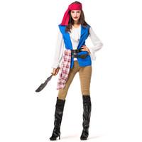 trajes de jack al por mayor-2019 Disfraz de pirata femenino Fiesta de Halloween Fiesta Cosplay Traje de pirata Capitán Jack Sailor Bar Traje de escenario