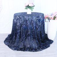 lacivert düğün masaları toptan satış-CL090A Yeni geliş custom made 2019 muhteşem Çin tedarikçisi fantezi lacivert nakış gümüş pullu dantel düğün masa örtüleri
