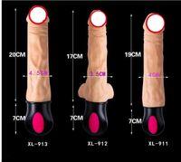 Wholesale realistic sex vaginas for sale - Group buy Flxur Mode Heating Realistic Dildo Vibrator Flexible Soft Silicone Penis G Spot Vagina Vibrator Masturbator Sex Toy For Women