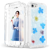 Wholesale iphone blue flowers case online - Luxury Dried Real Flower Case For Iphone plus Heavy Duty Shockproof Full Body Protection Cover Phone Case For Iphone XR XS Max