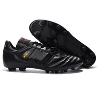 Wholesale flat leather boots 39 resale online - Mens Copa Mundial Leather FG Soccer Shoes Discount Soccer Cleats World Cup Football Boots Size Black White Orange botines futbol