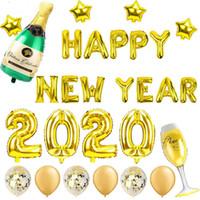 ingrosso allegri palloncini di natale-2020 Happy New Year Gold Foil Balloons Eve Party le decorazioni della decorazione 2019 di Buon Natale a casa ornamenti Albero Babbo Natale