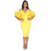 agora se veste venda por atacado-Vestido de moda feminina magro emagrecimento vestido de temperamento agora popular novo verão das mulheres cor sólida com decote em V sexy banquete vestido de festa