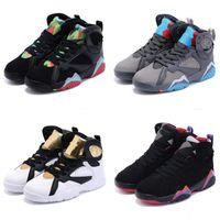 обувь больших размеров оптовых-New Kids черный Jumpman 7s Баскетбольная обувь молодежная спортивная обувь big Boys red 7 Кроссовки детские EU size 28-35 Chaussures de basket Enfant