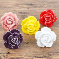 ingrosso tiranti porta fiore-5pcs / Set Maniglie in ceramica a forma di fiore di rose per mobili Manopole Manopole Armadi Manopole e maniglie Armadio Cassetto Maniglione