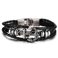 ancre d'alliage de bracelet achat en gros de-En gros Bijoux De Mode Ancre Designer Bracelets Alliage En Cuir Bracelets pour Hommes Personnalité Vintage Punk Bracelets Usine Vente Directe