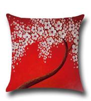 ingrosso decorazione della casa per ufficio-Cuscino in lino 3D Dipinto ad olio Fiore Federa Home Decor Divano Ufficio Nap Tiro Cuscino