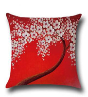 Wholesale office decor paintings resale online - Linen Cushion Cover D Oil Painting Flower Pillow Case Home Decor Sofa Office Nap Throw Pillow Cover