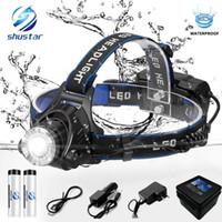 xm l2 led toptan satış-Shustar LED far balıkçılık far 6000 lümen XM-L2 XML-T6 Zumlanabilir lamba Su Geçirmez Kafa Torch fener Kafa lambası 18650 kullanın