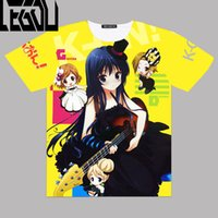 anime k venda por atacado-Anime japonês K-ON! Homens de Gráficos completos Camisetas Akiyama Mio 3D Impressão T shirt Tees Tops de Manga Curta Traje