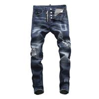поддельная молния оптовых-Dsquared2 Men dsquared2 Новый 2019 мужские джинсы брюки Брюки прочный разорвал отверстие DSN23 мода джинсовой промотирования Slim fit свежий поддельные молния Fly