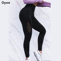 одежда йоги высокого качества оптовых-Oyoo Super Models Chic Twist Компрессионные Колготки Высокого Качества Спортивные Леггинсы Женские Белые Сетки Йога Брюки Фитнес Тренажерный Зал Одежда C19041701