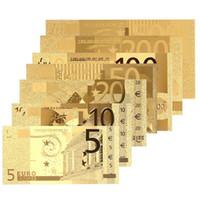 Wholesale fake money online - 7pcs set Gold Euro Banknote Sets EUR K Gold Commemorative Currency Fake Money for Collection