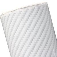 углеродная пленка белая оптовых-Белый автомобиль стикер 2D текстуры углеродного волокна виниловая пленка наклейка автомобильные пленки 100 * 1520 мм / 300 * 1520 мм / 500 * 1520 мм