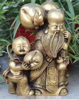 Wholesale chinese statue gods for sale - Group buy NEW quot Lucky Chinese Bronze Longevity Shouxing God Gourd Peach child kid Statue