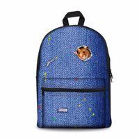 mochilas impresas gato al por mayor-Noisydesigns Preppy Style School Backpack Para Adolescentes 3D Animal Lion Dog Cat Kids Impresión Mochila Zoo Casual Para Niños Niñas