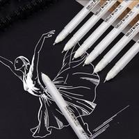 peinture graffiti noir blanc achat en gros de-Black Card White Highlight Marqueur Stylos Art Peint À La Main Stylo Croquis Stylos pour DIY Dessin Graffiti Art Fournitures École Papeterie