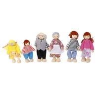 holzspielhäuser großhandel-6 stücke Holz Familienmitglieder Menschen Charaktere Kinder Kinder Puppenhaus Rolle Spielen Spielzeug Familie Puppe Kinder Geburtstagsgeschenk