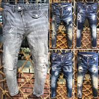 top marcas de jeans para hombre al por mayor-2019 Nueva marca famosa super diseñador larga ripped individualidad individual para hombre jeans de calidad superior cómodo moda biker jeans para hombres venta caliente