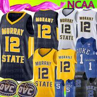ingrosso jersey blu giallo-Ja Morant 12 Murray State College Real maglia Uomo Giallo Bianco Blu scuro Ja Morant Basketball Maglie Ricamo 1 Zion Williamson