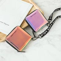 Wholesale cute woman ladies wallet for sale - Women Short Holographic Laser Wallet Fashion Lady Mini Zipper Hanging Wallets Cute Small Card Holder Coin Purse LJJT478