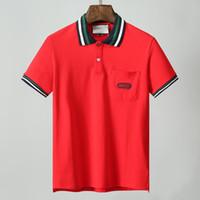 g strip achat en gros de-NEWEST 18ss Italy designer polo shirt Luxurys Marques t chemises mens Casual polos avec broderie Lettre G Mode bande Imprimer Polo en coton