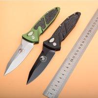 cuchillas de microtecnología al por mayor-Cuchillo de alta calidad MICROTECH VG10 lámina plegable del bolsillo para acampar al aire libre de caza táctico del combate colección del cuchillo del regalo de Navidad 59HRC Marca