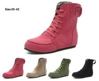 düşük tuval çizmeleri toptan satış-Toptan kadın ayak bileği çizme patlamalar büyük boy düz tuval alt alçak topuk çizmeler kafa öğrenci kısa botlar 4 renk