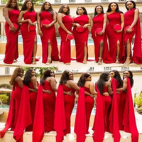 tek taraflı omuz gelinlik toptan satış-Kırmızı Mermaid Gelinlik Modelleri 2019 Bir Omuz Seksi Yan Bölünmüş Düğün Konuk Abiye Geri Fermuar Custom Made Afrika Onur Hizmetçi Elbise