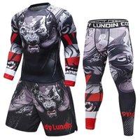 fitness elbisesi markası toptan satış-Marka Yeni erkek eşofman 3D Baskılar Sıkı Cilt Sıkıştırma Spor Suit Erkekler MMA Rashguard Vücut Geliştirme Üst Fitness Spor Seti
