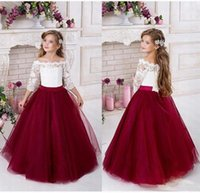 Wholesale wedding dresses from china resale online - Princess Lace Flower Girls Dress Half Sleeve Ball Gown Tulle Cheap China First Communion Dresse