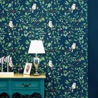 dormitorio de papel pintado de estilo vintage al por mayor-American Vintage Birds Flowers Wallpaper para sala de estar Dormitorio Blue Countryside Floral Contact Paper Decoración del hogar Ab Style