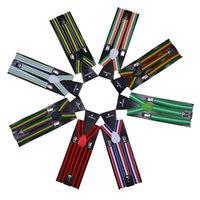 ingrosso bretelle a righe-Bretelle a righe 2.5 * 100CM Adulto Elastico Y-back 20 colori Arcobaleno cinturino regolabile Bretelle per Clip-on Hallowmas Regalo di Natale