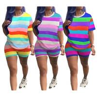 полосатые шорты оптовых-Женские полосатые спортивные костюмы 3 цвета топы радуги шорты 2 шт. / Компл.
