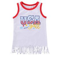 ingrosso jumpsuits gonna bianca-Summer Girl Independence National Skirt American Flag Independence National Day USA 4 luglio White USA Lettera Star Stripe Print Vest Gonna tuta