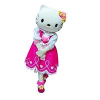 traje de fantasia traje de mascote venda por atacado-Olá Kitty dos desenhos animados Fancy Dress Mascot Costume Adulto Suit Express
