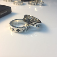 Wholesale pure silver jewelry for men for sale - Group buy Vintage Real Pure Sterling Silver forever Ring Sanskrit Cross Rings Lucky Opening Rings for Men Women Fine Jewelry