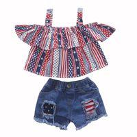 eua bandeira americana jeans venda por atacado-Meninas Sling Shorts Set Bandeira Americana Independence National Day EUA 04 de julho Estrela Listrada de Algodão Ruffled Tops Jeans Rígida Rasgado
