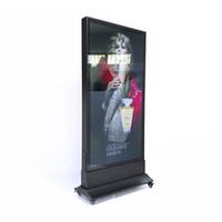 marcos de fotos con luz led al por mayor-El marco de la imagen de la comercialización de 60 * 180cm llevó la caja de luz del soporte del piso con el soporte de madera de la caja de las ruedas bajas