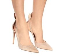 искусственный замшевый насос оптовых-Бежевые искусственные замшевые туфли на шпильках женские туфли на высоком каблуке заостренный носок лодыжки ремень женская обувь сексуальные высокие каблуки свадебные туфли