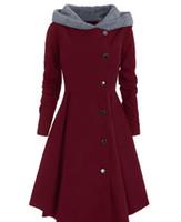 asymmetrische mäntel für frauen großhandel-Winter Frauen Asymmetrische Plus Size Mantel Kontrast Mit Kapuze Rock Mantel Einreiher Farbblock Lange Outwear