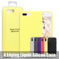 pacotes de silicone venda por atacado-Caso de telefone de silicone líquido para iphone xr xs max 360 graus completa tampa do telefone celular para apple 6 6 s 7 8 plus com embalagem