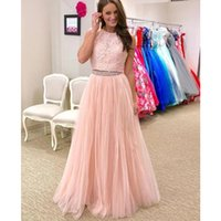 Wholesale girl neck sexy floor for sale - Group buy Stylish Lace Two Pieces Long Prom Dresses Beaded Sequins Evening Gowns Custom Vestido Girls Formal Party Gowns