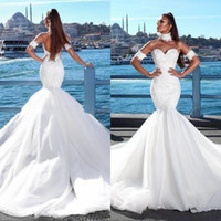 Wholesale backless strapless sexy wedding dresses resale online - 2019 Long Beach Chapel Train Wedding Dresses White Lace Tulle Sexy Backless Sweetheart Neck Vestido De Noiva Bridal Gowns