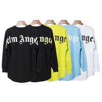 melek uzun kollu gömlek toptan satış-HIP HOP Yeni Yüksek kalite Moda Yaz Palm Angels Mektubu baskı Erkek Kadın Uzun kollu t-Shirt Palmiye Melekleri kanye west tee S-XL