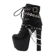 16cm stiefel großhandel-Reißverschluss Metallketten Niet Motorradstiefel Frauen Schuhe Super High Heels 16 CM Plattform Stiefeletten Punk Rock Gothic Biker Stiefel