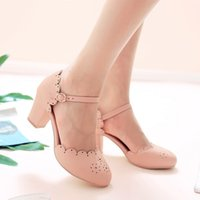 Wholesale novelty shoes sale for sale - Hot Sale colors cheap Large size high chunky heel round toes buckle strap cutouts solid hollow lady career shoes women sandals c