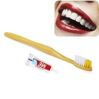 гостиничная зубная паста оптовых-100 компл. / Лот Одноразовая зубная щетка с зубной пастой, в индивидуальной упаковке, стоматологическое оборудование Hotel Bath Использовать для кемпинга Путешествия бесплатная доставка