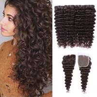 Wholesale remy human hair lace closures resale online - Brazilian Deep Curly Wave Bundles Dark Brown Virgin Human Hair Bundles With x4 Lace Closure Remy Human Hair Extensions