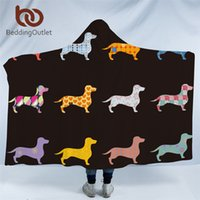 Wholesale BeddingOutlet Dachshund Sausage Microfiber Hooded Blanket Colorful Puppy Sherpa Fleece Cartoon Dog Wearable Throw Blanket